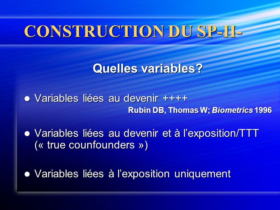 CONSTRUCTION DU SP-II- Quelles variables?  Variables liées au devenir ++++ Rubin DB, Thomas W; Biometrics 1996  Variables liées au devenir et à l'ex