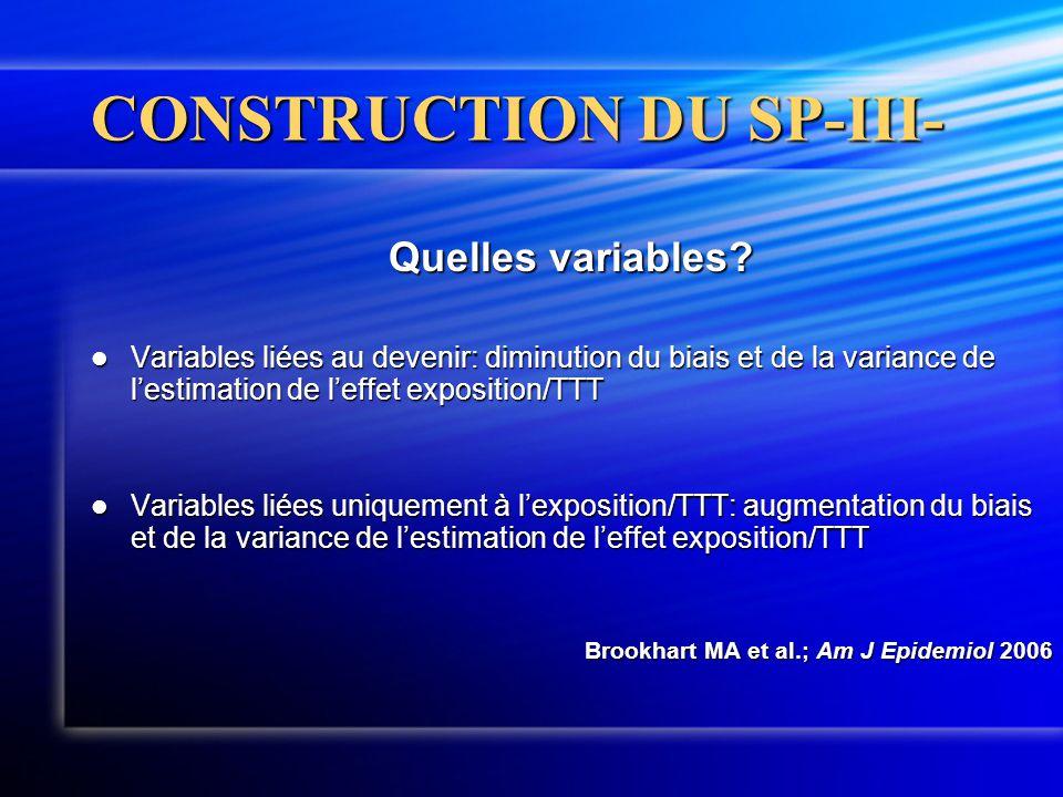 CONSTRUCTION DU SP-III- Quelles variables?  Variables liées au devenir: diminution du biais et de la variance de l'estimation de l'effet exposition/T