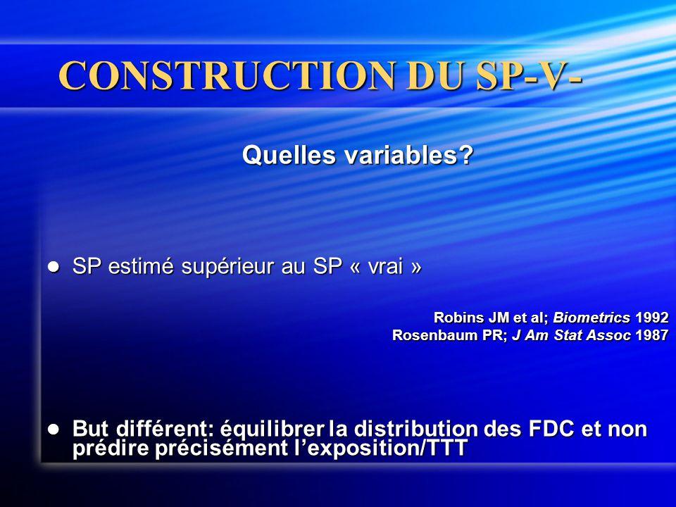 CONSTRUCTION DU SP-V- Quelles variables?  SP estimé supérieur au SP « vrai » Robins JM et al; Biometrics 1992 Robins JM et al; Biometrics 1992 Rosenb