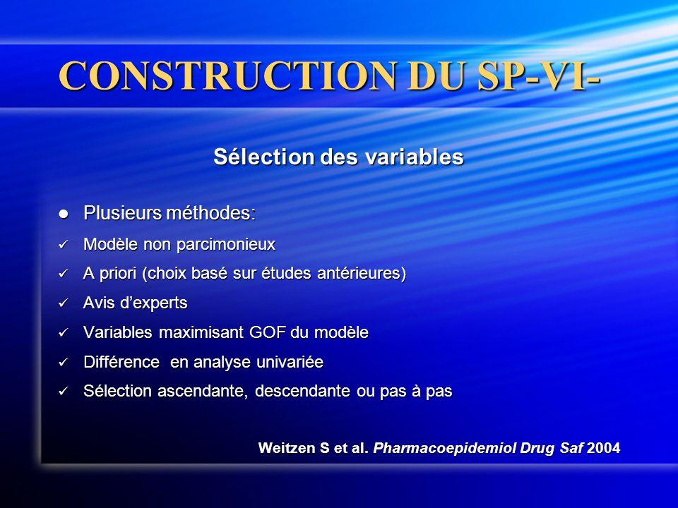 CONSTRUCTION DU SP-VI- Sélection des variables  Plusieurs méthodes:  Modèle non parcimonieux  A priori (choix basé sur études antérieures)  Avis d