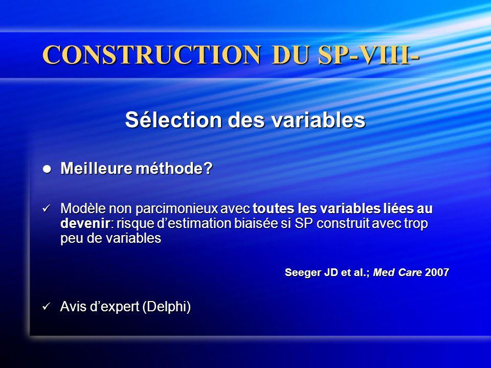 CONSTRUCTION DU SP-VIII- Sélection des variables  Meilleure méthode?  Modèle non parcimonieux avec toutes les variables liées au devenir: risque d'e