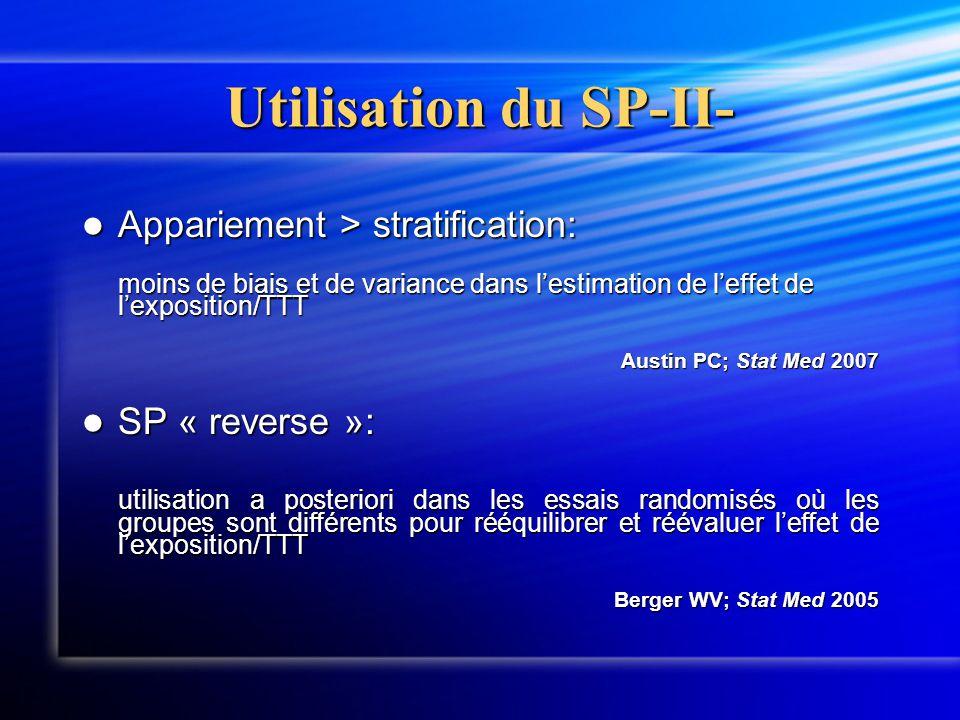 Utilisation du SP-II-  Appariement > stratification: moins de biais et de variance dans l'estimation de l'effet de l'exposition/TTT Austin PC; Stat M