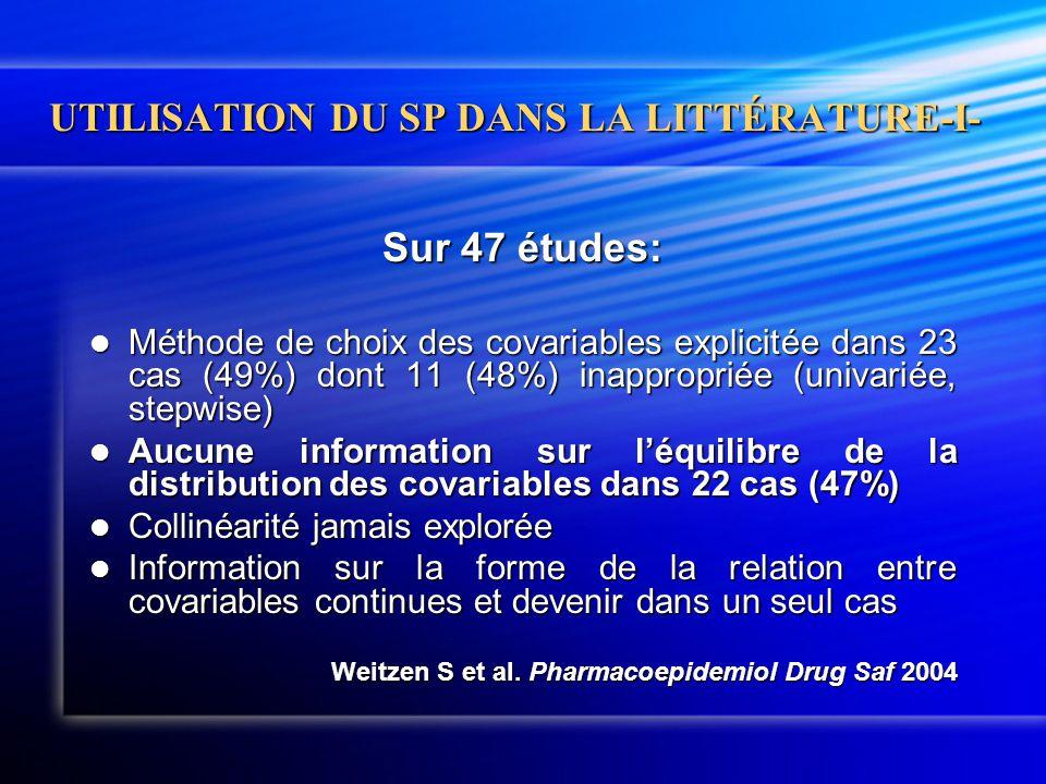UTILISATION DU SP DANS LA LITTÉRATURE-I- Sur 47 études:  Méthode de choix des covariables explicitée dans 23 cas (49%) dont 11 (48%) inappropriée (un