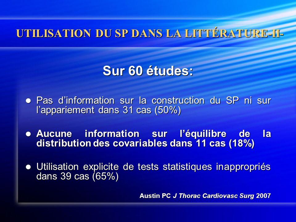 UTILISATION DU SP DANS LA LITTÉRATURE-II- Sur 60 études:  Pas d'information sur la construction du SP ni sur l'appariement dans 31 cas (50%)  Aucune