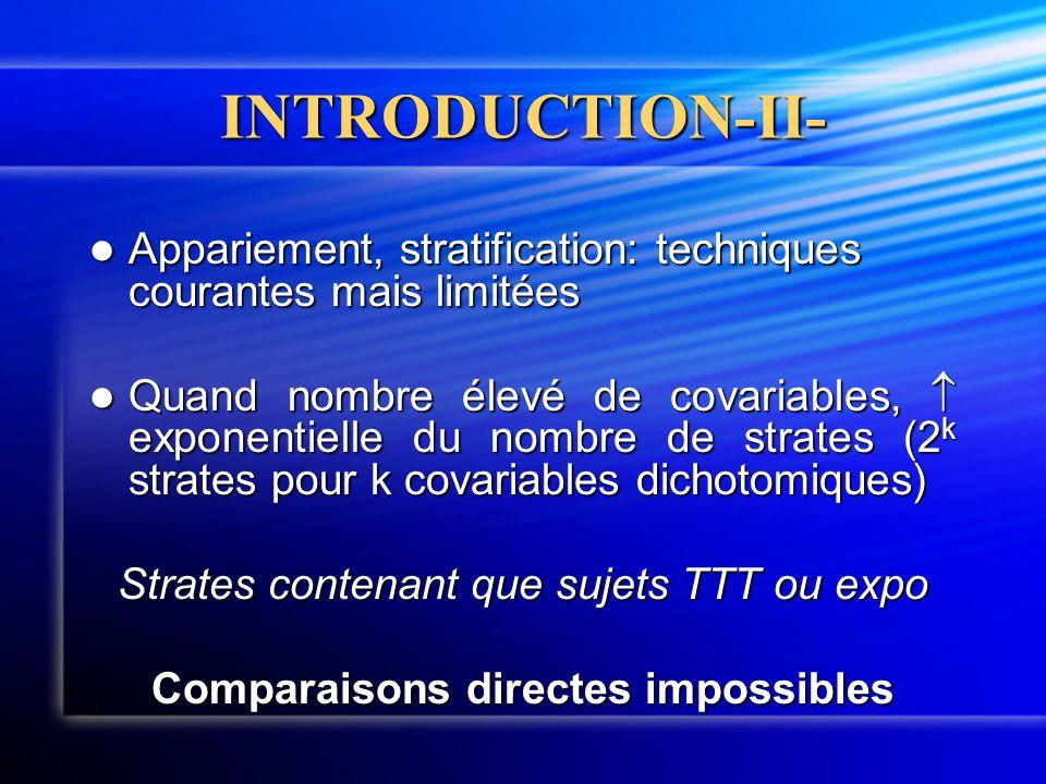 INTRODUCTION-II-  Appariement, stratification: techniques courantes mais limitées  Quand nombre élevé de covariables,  exponentielle du nombre de s