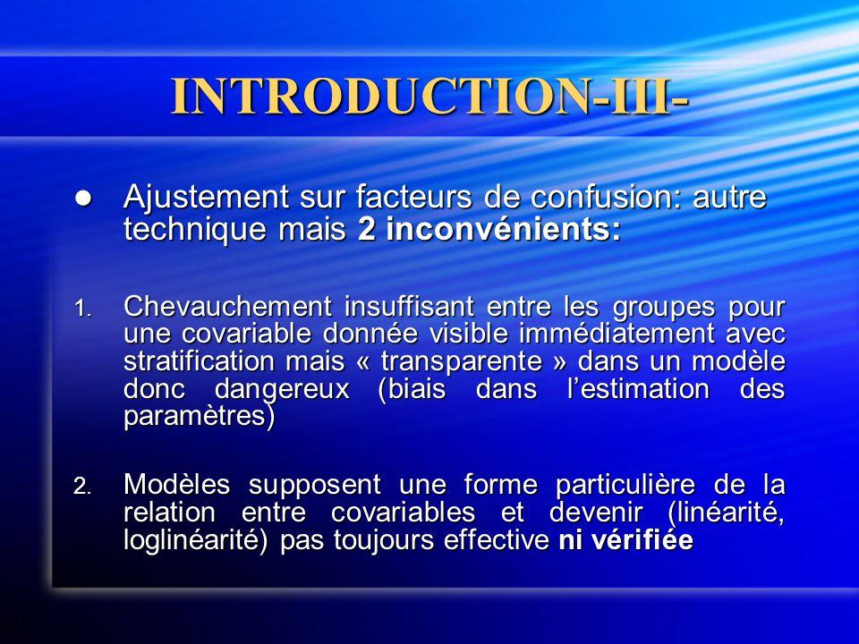INTRODUCTION-III-  Ajustement sur facteurs de confusion: autre technique mais 2 inconvénients: 1. Chevauchement insuffisant entre les groupes pour un