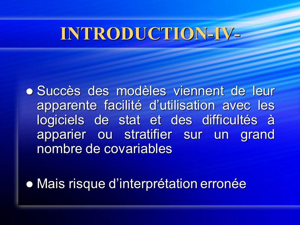 INTRODUCTION-IV-  Succès des modèles viennent de leur apparente facilité d'utilisation avec les logiciels de stat et des difficultés à apparier ou st