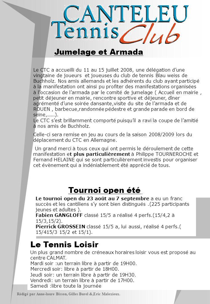 Rédigé par Anne-laure Bisson, Gilles Burel &,Eric Malexieux. Jumelage et Armada Tournoi open été Le tournoi open du 23 août au 7 septembre a eu un fra