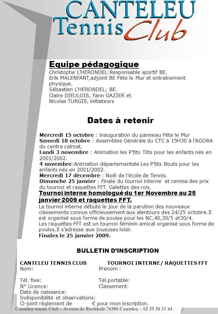 BULLETIN D'INSCRIPTION CANTELEU TENNIS CLUB TOURNOI INTERNE/ RAQUETTES FFT Nom:Prénom : Tél. fixe:Tél.portable: N° Licence:Classement: Date de naissan