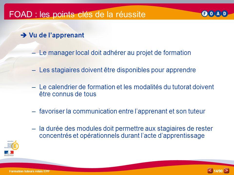 /90 Formation tuteurs relais EPP 14 FOAD : les points clés de la réussite  Vu de l'apprenant –Le manager local doit adhérer au projet de formation –L