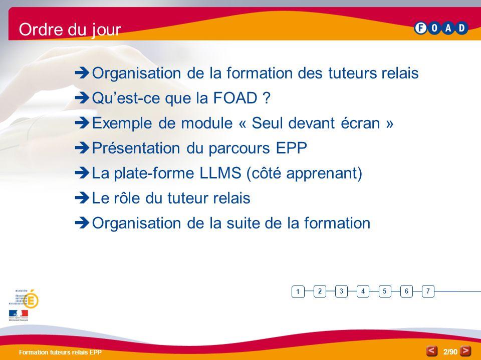 /90 Formation tuteurs relais EPP 2 Ordre du jour  Organisation de la formation des tuteurs relais  Qu'est-ce que la FOAD ?  Exemple de module « Seu