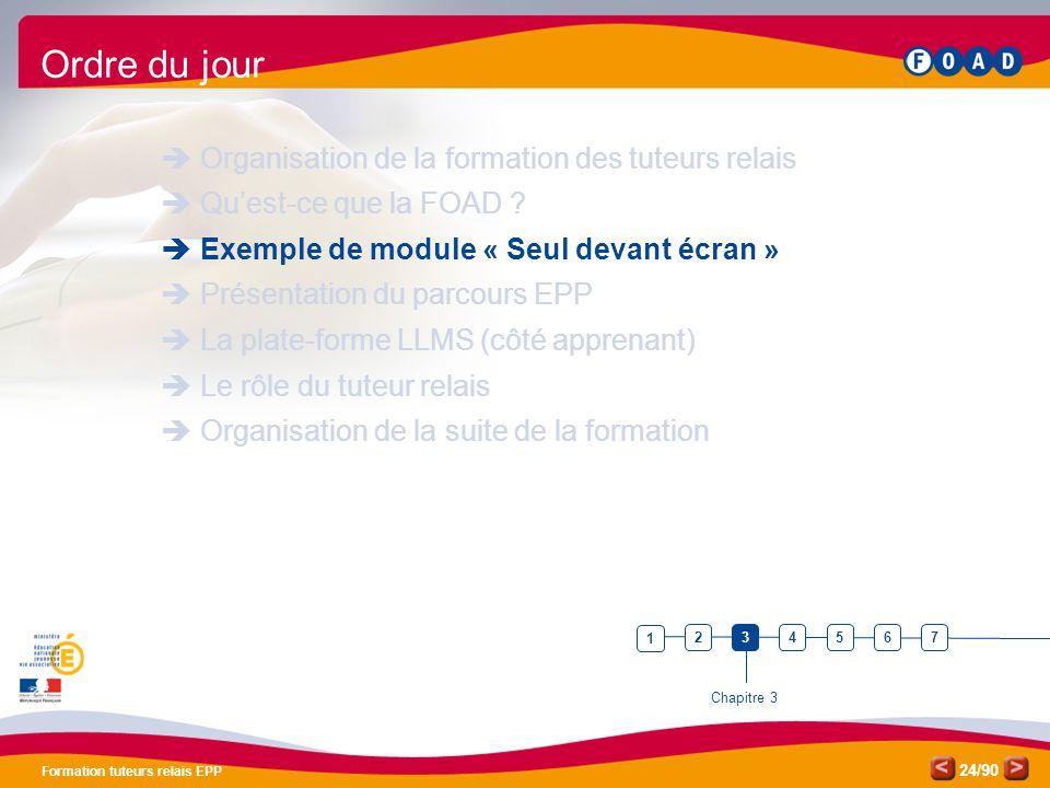 /90 Formation tuteurs relais EPP 24 Ordre du jour  Organisation de la formation des tuteurs relais  Qu'est-ce que la FOAD ?  Exemple de module « Se