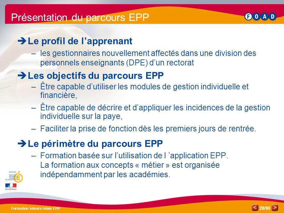 /90 Formation tuteurs relais EPP 28 Présentation du parcours EPP  Le profil de l'apprenant –les gestionnaires nouvellement affectés dans une division