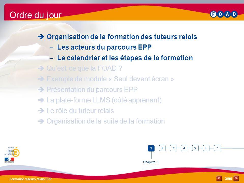 /90 Formation tuteurs relais EPP 3 Ordre du jour  Organisation de la formation des tuteurs relais –Les acteurs du parcours EPP –Le calendrier et les