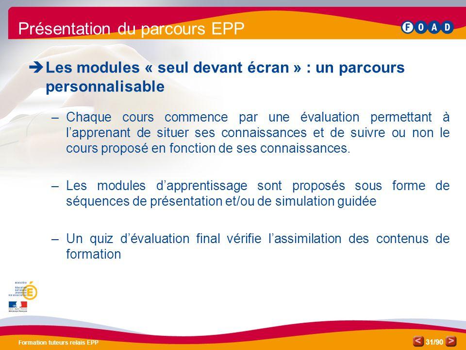 /90 Formation tuteurs relais EPP 31 Présentation du parcours EPP  Les modules « seul devant écran » : un parcours personnalisable –Chaque cours comme