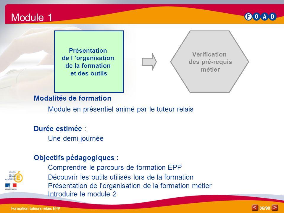 /90 Formation tuteurs relais EPP 36 Présentation de l 'organisation de la formation et des outils Vérification des pré-requis métier Modalités de form