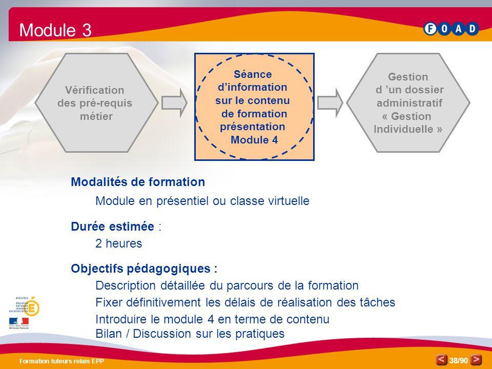 /90 Formation tuteurs relais EPP 38 Vérification des pré-requis métier Séance d'information sur le contenu de formation présentation Module 4 Gestion