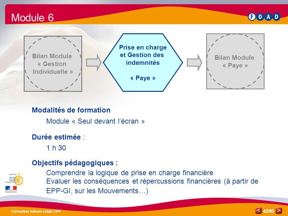 /90 Formation tuteurs relais EPP 42 Prise en charge et Gestion des indemnités « Paye » Bilan Module « Paye » Bilan Module « Gestion Individuelle » Mod