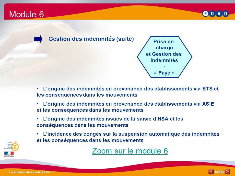 /90 Formation tuteurs relais EPP 45 Prise en charge et Gestion des indemnités - « Paye » Module 6 Gestion des indemnités (suite) • L'origine des indem