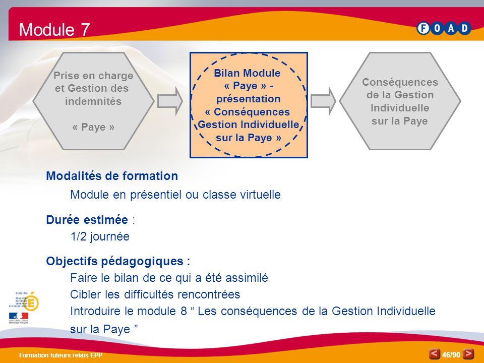 /90 Formation tuteurs relais EPP 46 Prise en charge et Gestion des indemnités « Paye » Bilan Module « Paye » - présentation « Conséquences Gestion Ind