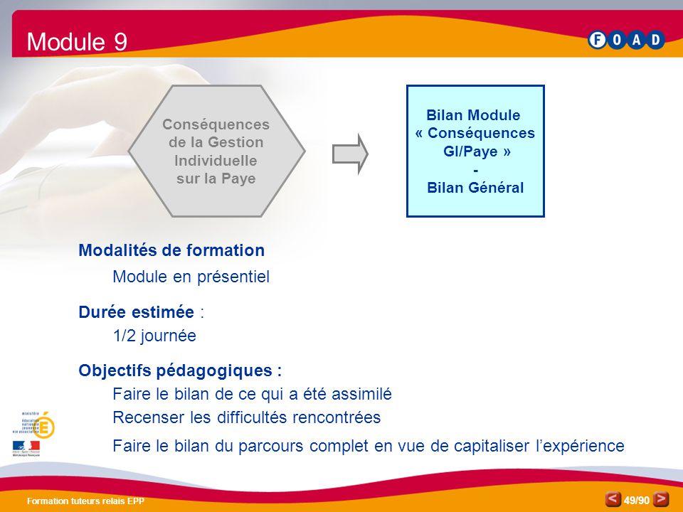 /90 Formation tuteurs relais EPP 49 Bilan Module « Conséquences GI/Paye » - Bilan Général Conséquences de la Gestion Individuelle sur la Paye Modalité