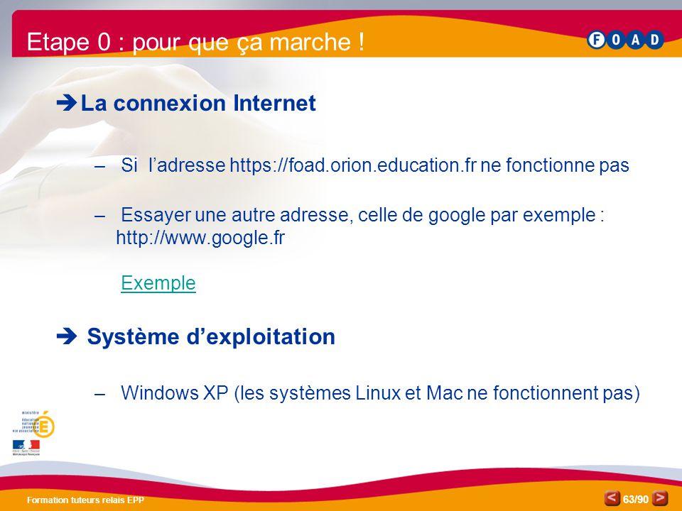 /90 Formation tuteurs relais EPP 63  La connexion Internet – Si l'adresse https://foad.orion.education.fr ne fonctionne pas – Essayer une autre adres