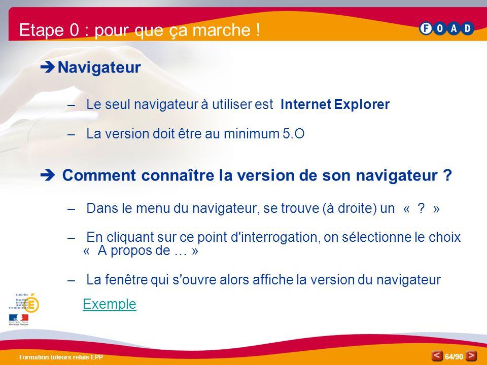 /90 Formation tuteurs relais EPP 64  Navigateur – Le seul navigateur à utiliser est Internet Explorer – La version doit être au minimum 5.O  Comment