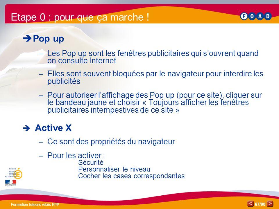 /90 Formation tuteurs relais EPP 67  Pop up –Les Pop up sont les fenêtres publicitaires qui s'ouvrent quand on consulte Internet –Elles sont souvent