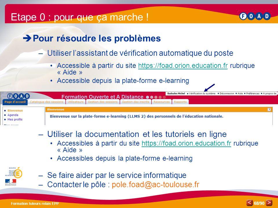 /90 Formation tuteurs relais EPP 68  Pour résoudre les problèmes –Utiliser l'assistant de vérification automatique du poste •Accessible à partir du s
