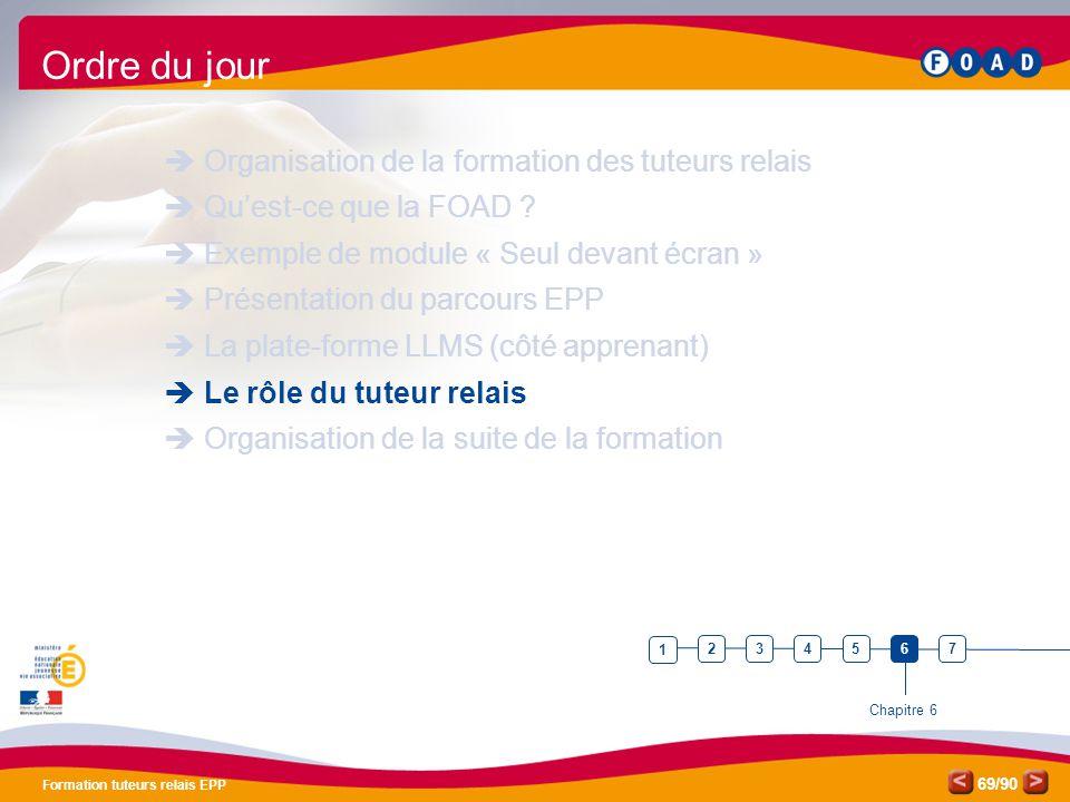 /90 Formation tuteurs relais EPP 69 Ordre du jour  Organisation de la formation des tuteurs relais  Qu'est-ce que la FOAD ?  Exemple de module « Se