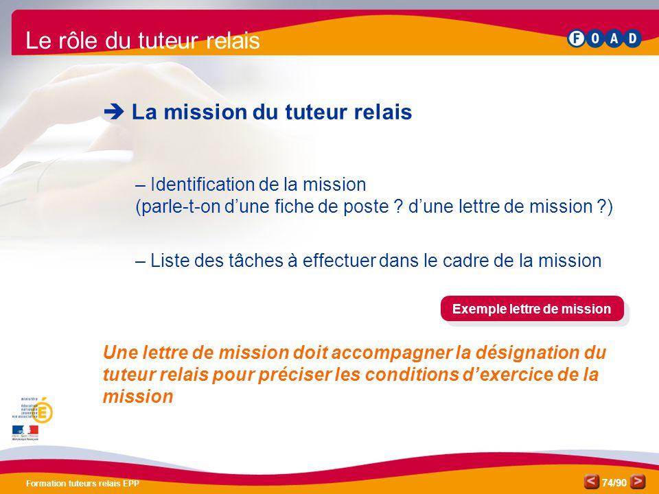 /90 Formation tuteurs relais EPP 74 Le rôle du tuteur relais  La mission du tuteur relais – Identification de la mission (parle-t-on d'une fiche de p