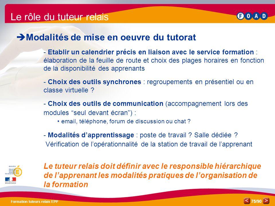 /90 Formation tuteurs relais EPP 75 Le rôle du tuteur relais  Modalités de mise en oeuvre du tutorat - Etablir un calendrier précis en liaison avec l