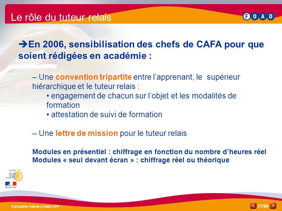 /90 Formation tuteurs relais EPP 77 Le rôle du tuteur relais  En 2006, sensibilisation des chefs de CAFA pour que soient rédigées en académie : – Une