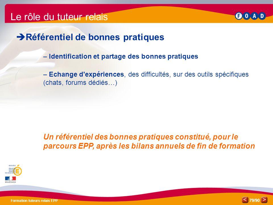 /90 Formation tuteurs relais EPP 79 Le rôle du tuteur relais  Référentiel de bonnes pratiques – Identification et partage des bonnes pratiques – Echa