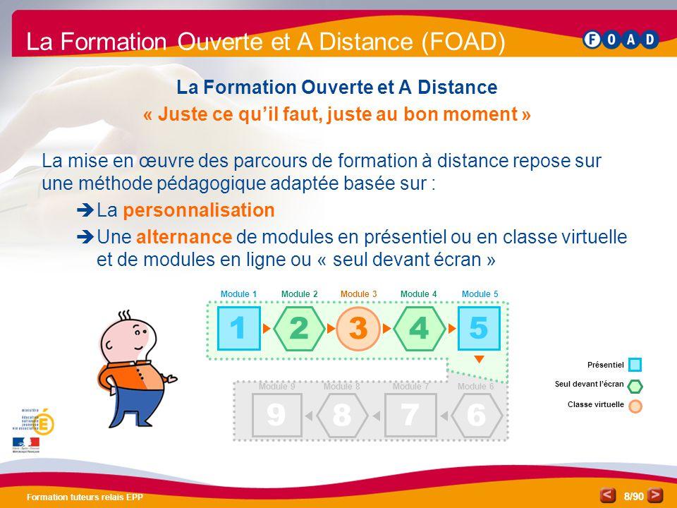 /90 Formation tuteurs relais EPP 8 La Formation Ouverte et A Distance « Juste ce qu'il faut, juste au bon moment » La mise en œuvre des parcours de fo