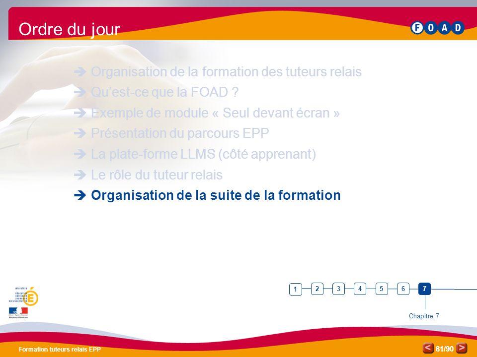 /90 Formation tuteurs relais EPP 81 Ordre du jour  Organisation de la formation des tuteurs relais  Qu'est-ce que la FOAD ?  Exemple de module « Se
