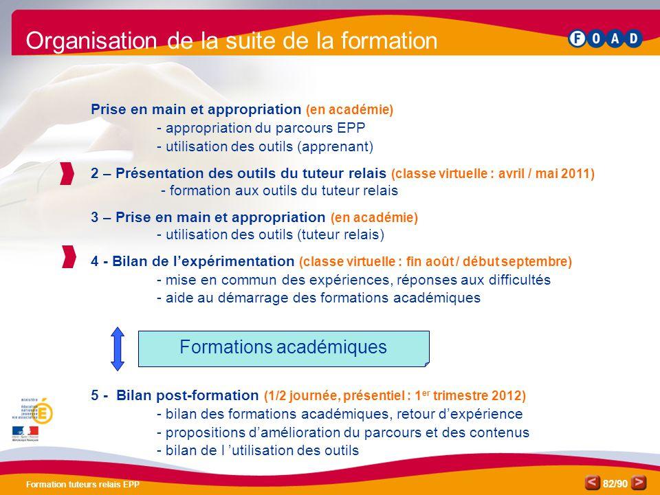 /90 Formation tuteurs relais EPP 82 Prise en main et appropriation (en académie) - appropriation du parcours EPP - utilisation des outils (apprenant)