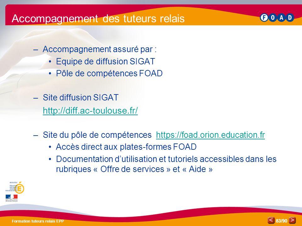/90 Formation tuteurs relais EPP 83 Accompagnement des tuteurs relais –Accompagnement assuré par : •Equipe de diffusion SIGAT •Pôle de compétences FOA