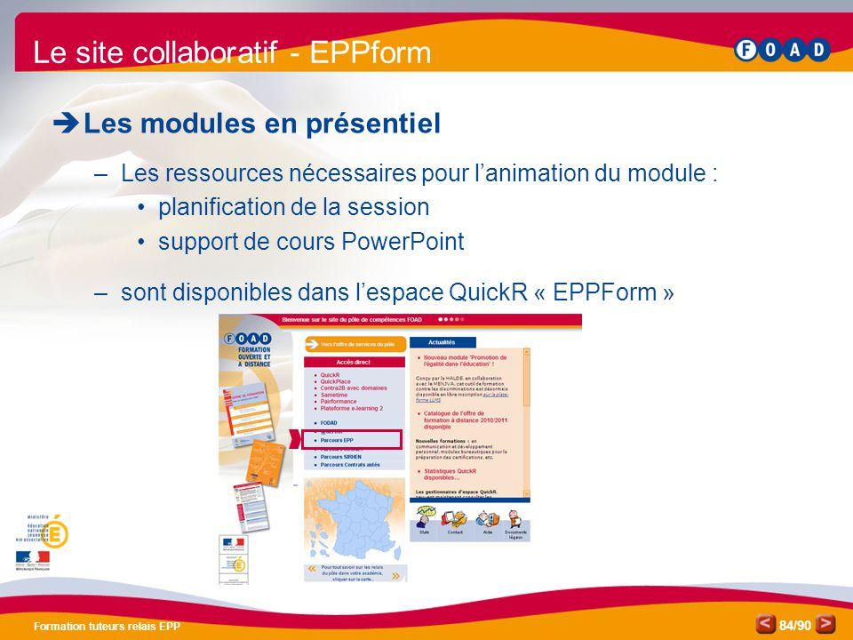 /90 Formation tuteurs relais EPP 84 Le site collaboratif - EPPform  Les modules en présentiel –Les ressources nécessaires pour l'animation du module