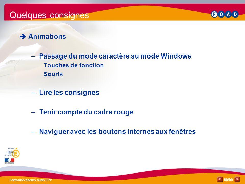 /90 Formation tuteurs relais EPP 89  Animations –Passage du mode caractère au mode Windows Touches de fonction Souris –Lire les consignes –Tenir comp