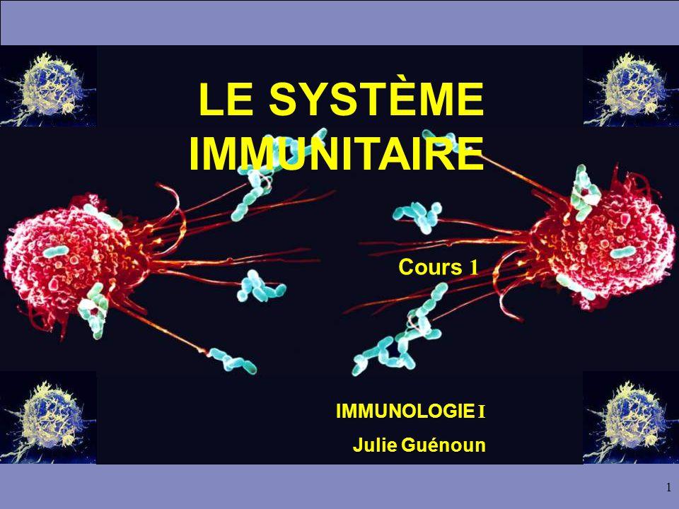 1 LE SYSTÈME IMMUNITAIRE Cours 1 IMMUNOLOGIE I Julie Guénoun