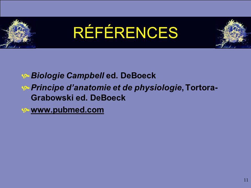 11 RÉFÉRENCES  Biologie Campbell ed.