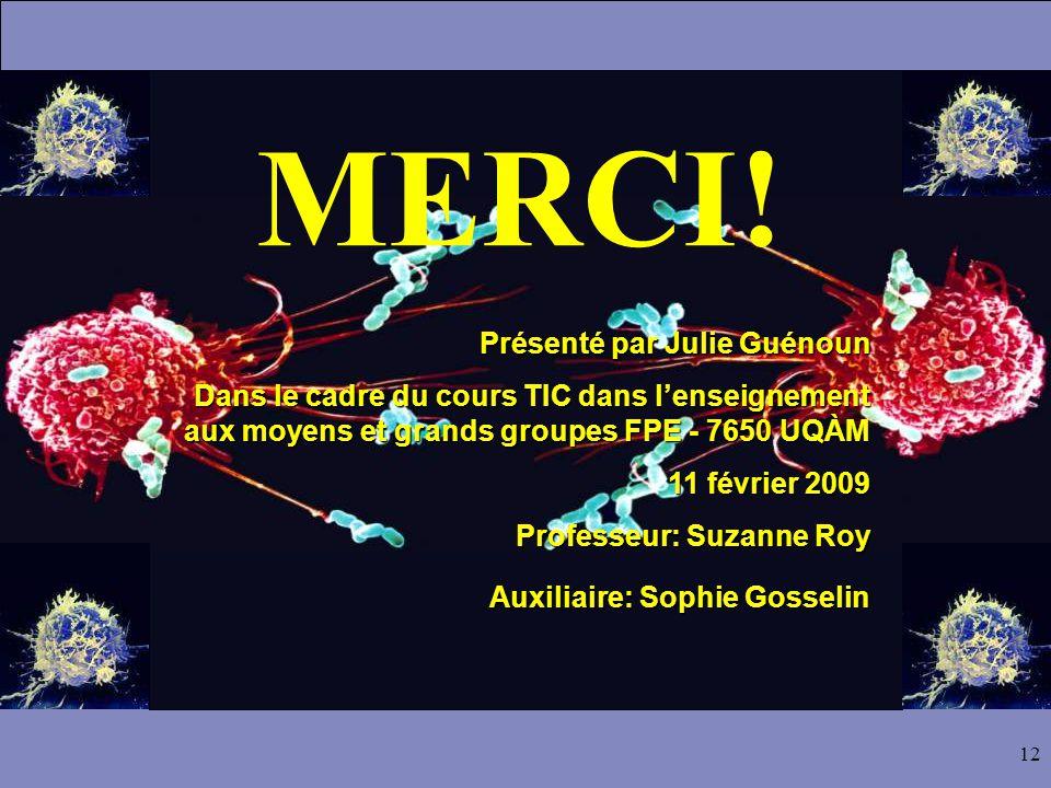 12 MERCI! Présenté par Julie Guénoun Dans le cadre du cours TIC dans l'enseignement aux moyens et grands groupes FPE - 7650 UQÀM 11 février 2009 Profe