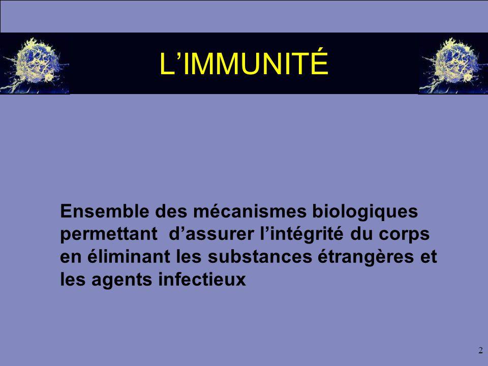 2 L'IMMUNITÉ Ensemble des mécanismes biologiques permettant d'assurer l'intégrité du corps en éliminant les substances étrangères et les agents infect