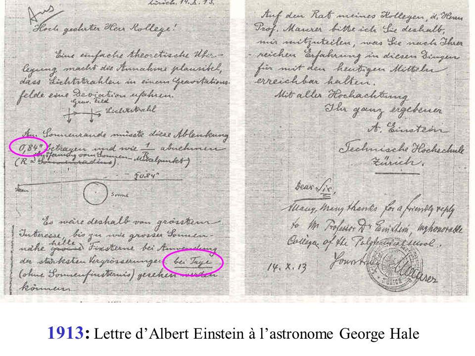 1913: Lettre d'Albert Einstein à l'astronome George Hale