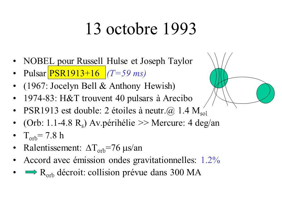 13 octobre 1993 •NOBEL pour Russell Hulse et Joseph Taylor •Pulsar PSR1913+16 (T=59 ms) •(1967: Jocelyn Bell & Anthony Hewish) •1974-83: H&T trouvent