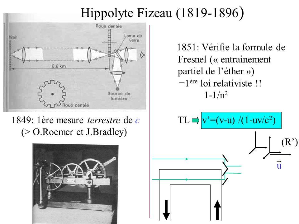 Hippolyte Fizeau (1819-1896 ) 1851: Vérifie la formule de Fresnel (« entrainement partiel de l'éther ») =1 ère loi relativiste !! 1-1/n 2 1849: 1ère m