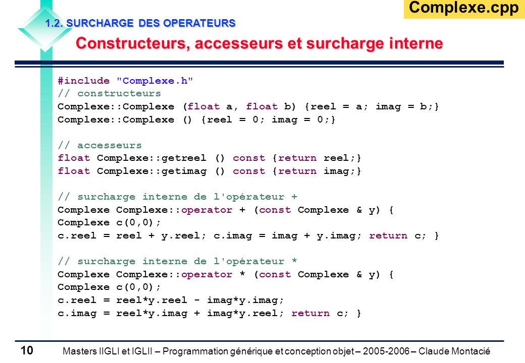 Masters IIGLI et IGLII – Programmation générique et conception objet – 2005-2006 – Claude Montacié 10 1.2.