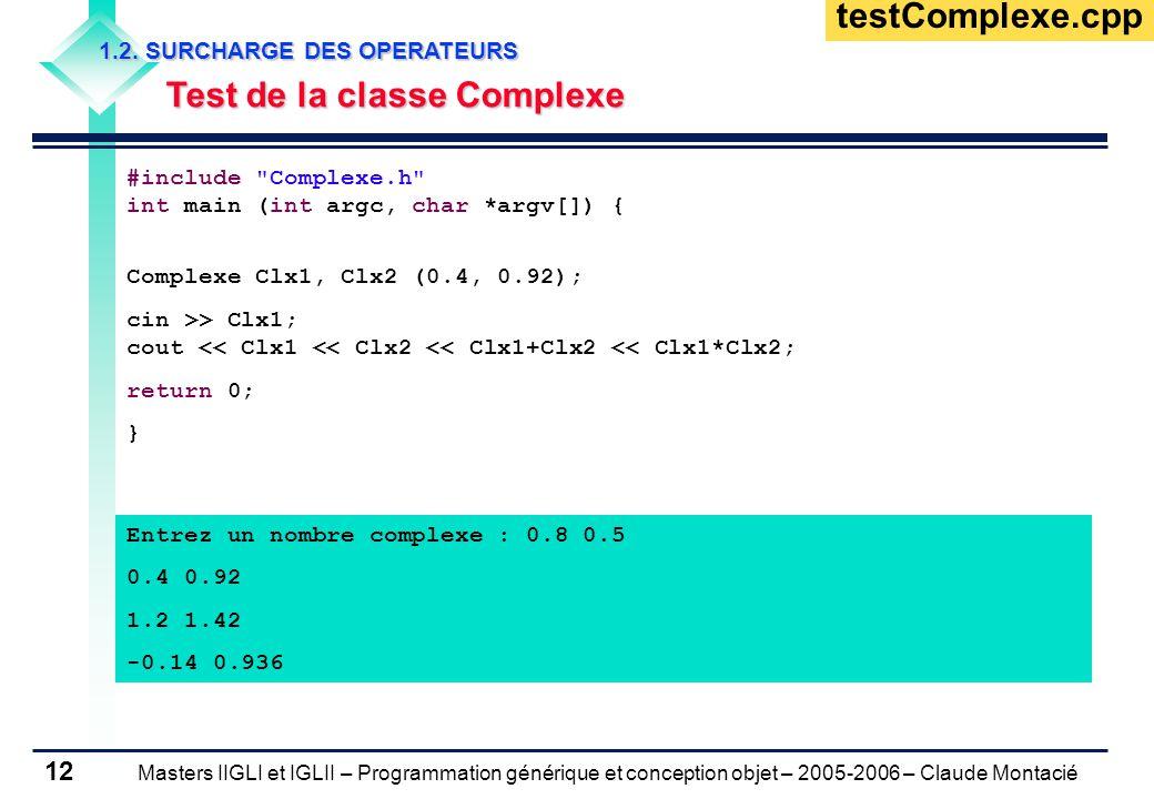 Masters IIGLI et IGLII – Programmation générique et conception objet – 2005-2006 – Claude Montacié 12 1.2.