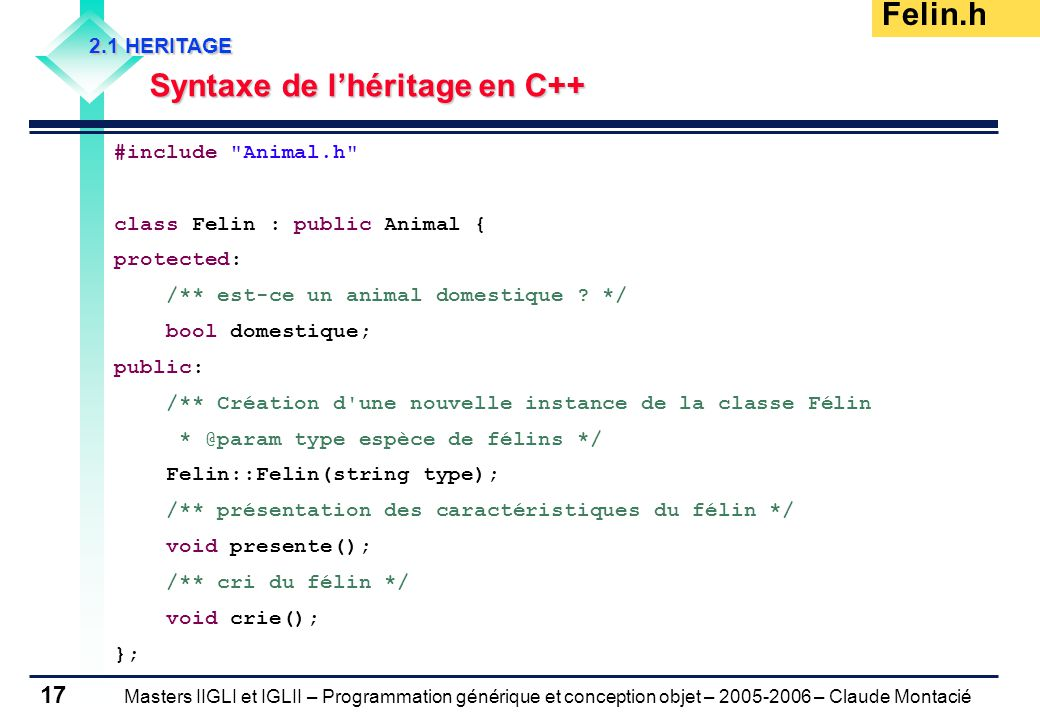 Masters IIGLI et IGLII – Programmation générique et conception objet – 2005-2006 – Claude Montacié 17 2.1 HERITAGE Syntaxe de l'héritage en C++ Felin.h #include Animal.h class Felin : public Animal { protected: /** est-ce un animal domestique .